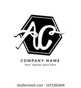 AC A C Monogram Handwritten Font of the black and white initial logo, geometric, fashion, boutique, botanical, wedding, with memorable Timeless design for any company or business