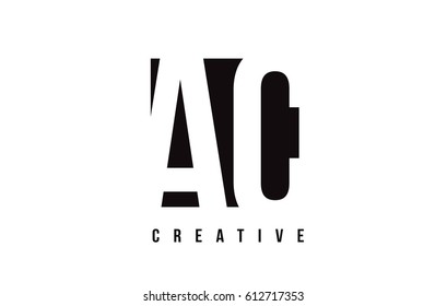 AC A C White Letter Logo Design with Black Square Vector Illustration Template.