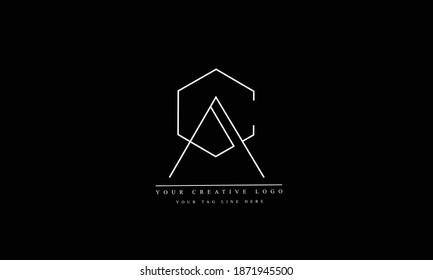 AC, CA, A, C abstract vector logo monogram template