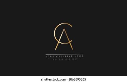 AC CA abstract vector logo monogram template