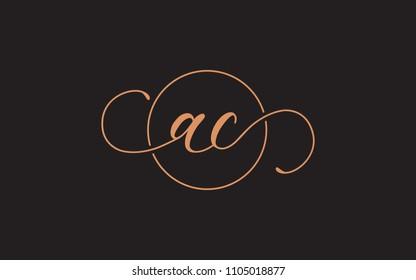 ac ca Circular Cursive Letter Initial Logo Design Template Vector Illustration