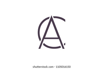 AC CA Uppercase Letter Initial Logo Design Template Vector Illustration