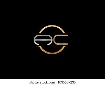 AC circle Shape Letter logo Design in silver gold color
