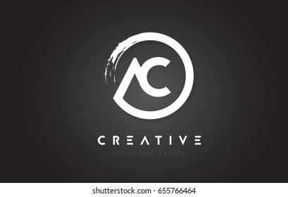 AC Circular Letter Logo with Circle Brush Design and Black Background.