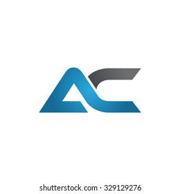 AC company linked letter logo blue