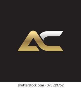 AC company linked letter logo golden silver black background