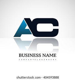 AC company linked letter logo icon blue and black