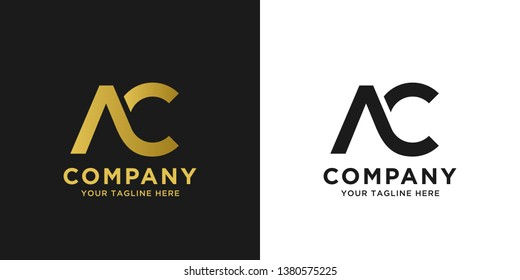 AC elegant logo template in gold color, vector file .eps 10, text and color is easy to edit