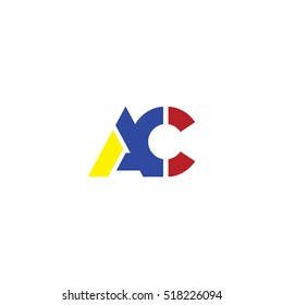 AC flat initial letter logo combining yellow blue red