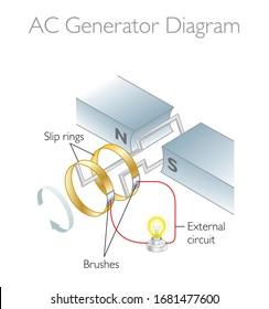 AC Generator Diagram - 3D Vector Illustration / Faraday's Law - Physics Education