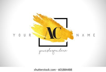 AC Golden Letter Logo Design with Creative Gold Brush Stroke and Black Frame.