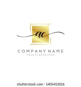 AC handwriting initial  logo template vector.