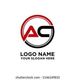 AC initial circle logo template vector