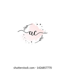 ac initial handwriting letter logo template, for name initial, fashion, jewerly,boutique and botanical vector