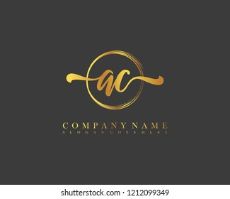 AC initial handwriting logo circle template vector