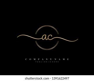 AC initial handwriting logo template vector