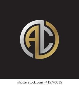 AC initial letters linked circle elegant logo golden silver black background