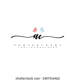 AC initial signature logo. handwriting logo template vector,