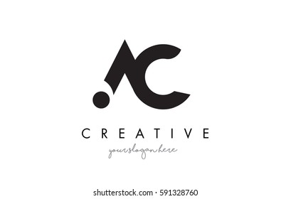 AC Letter Logo Design with Creative Modern Trendy Typography and Black Colors.