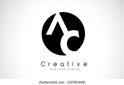 AC Letter Logo Design inside a Black Circle. Creative Lettering Logo Vector Illustration.