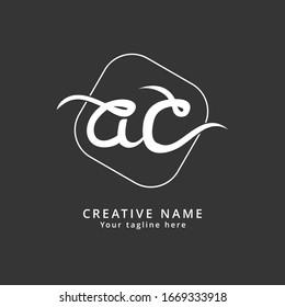 AC Letter Lowercase Handwritten Initial Logo. Monogram design, minimalist geometric, memorable for business branding, photography, and creative company.