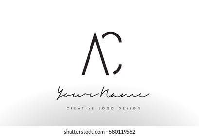 AC Letters Logo Design Slim. Simple and Creative Black Letter Concept Illustration.