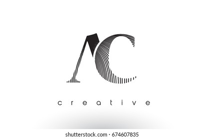 AC Logo Design With Multiple Lines. Artistic Elegant Black and White Lines Icon Vector Illustration.