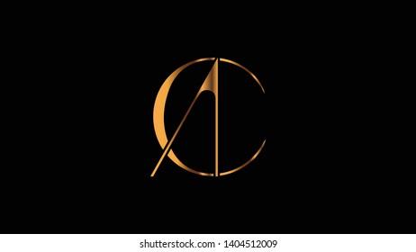 AC logo design template vector minimal illustration