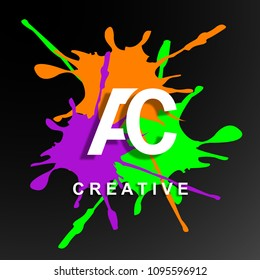 AC logo design vector with Creative Modern Trendy Typography, background spotting paint colorfull