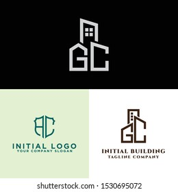 AC logo set and modern graphic design, Inspirational logo design for all companies and the initial concept of the GC logo set with a vector building template for construction.