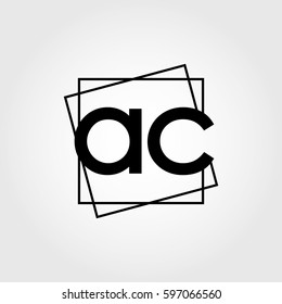 ac lowercase initials square frame business logo