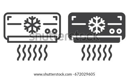 AC Unit Icon Line Solid Version Stock-Vektorgrafik (Lizenzfrei ...