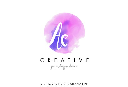 AC Watercolor Letter Logo Design with Purple Rounded Aquarelle Brush Stroke.