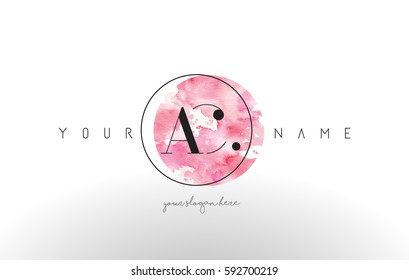 AC Watercolor Letter Logo Design with Circular Pink Brush Stroke.