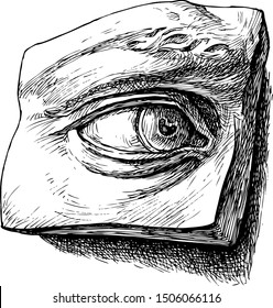 Academic drawing of a plaster sculpture of an eye - vector illustration, on white, stylized engraving