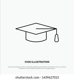 Academic, Education, Graduation hat Line Icon Vector