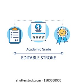 Academic grade concept icon. Excellent educational result. Passing exam perfectly. Good level of knowledge idea thin line illustration. Vector isolated outline drawing. Editable stroke