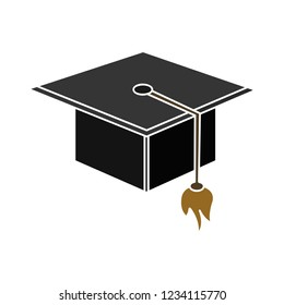 academic graduation cap isolated vector - diploma achievement ceremony illustration sign . university high degree sign symbol