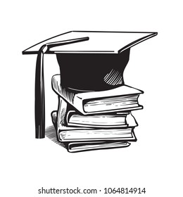 Academic graduation cap on stack  of books. Retro engraving style education concept. Hand drawn vector sketch illustration  isolated on white background.