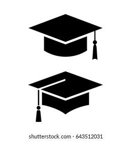 Academic graduation cap vector icon illustration isolated on white background