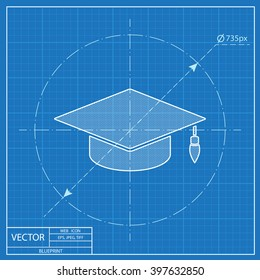 academic hat vector blueprint icon