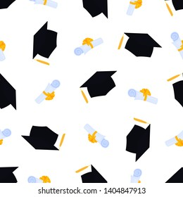Academic mortarboard with Tassel. University Graduation Cap. Scroll tied with a ribbon and graduate hat seamless pattern. Diploma with bowknot