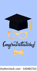 Academic mortarboard with Tassel. University Graduation Cap. Congratulatory posters for the festive ceremony