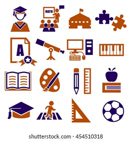 academic, scholastic, education icon set