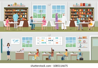 Academic students at the library and teacher with pupils in the classroom, school and education conceptual vector illustration.