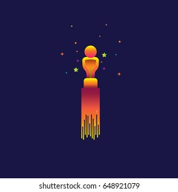 Academy award icon Color gradation. sign symbol for web, modern design vector on blue background. logo.