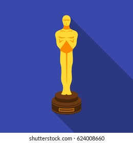 Academy award icon in flat style isolated on white background. Films and cinema symbol stock vector illustration.
