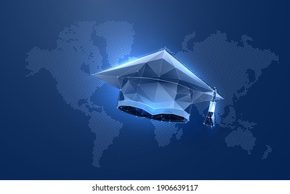Academy graduate hat in digital futuristic style. Online education concept on world map background. Vector illustration