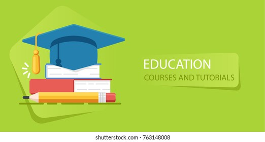 Academy hat, heap of books, university education, study of school flat vector illustration