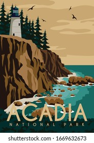 Acadia National Park Background. Travel to Maine East Coast United States. Flat Cartoon Vector Illustration in Colored Style.